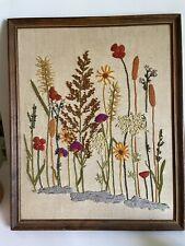 Vintage Crewel embroidery flower framed 23 1/2 x 19