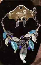 Bib necklace chunky blue silver leaves crystal rhinestones FREE SHIPPING
