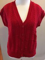 Red Knit Preppy Cardigan Sweater Vest Sleeveless Button V-Neck Rosanna Vtg 90s L