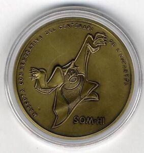Medalla RCD Espanyol de futbol centenario 1900-2000 Bronce certificado football