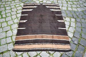 Antique Real Goat Hair Kilim 2'7 x 3'7 ft Anatolian Goat Hair Kilim Rug NO DYE