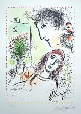 """MARC CHAGALL Hand Signed 1983 Original Color Lithograph - """"Tendresse"""""""