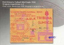 Fußball Weltmeisterschaft 1930 + WM Final Ticket + Orig. Repro Postkarten Serie