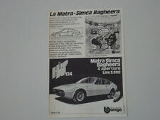advertising Pubblicità 1976 MATRA SIMCA BBURAGO