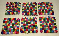 TM2 Hand Craft wool Felt Ball pom pom bead gift Square 1pc Tea coaster mat Nepal