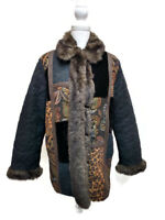 1 Madison Womens Large Coat Black Quilted Faux Fur Tapestry Patchwork