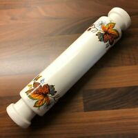 Vintage Ceramic Rolling Pin Botanical Floral Design Mid Century Kitchenalia MCM