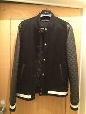 Zara Men's Bomber Baseball Style Jacket/ Leather Arms Small