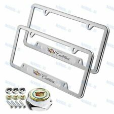 2PCS For CADILLAC Silver Metal Stainless Steel License Plate Frame + Bolts Set