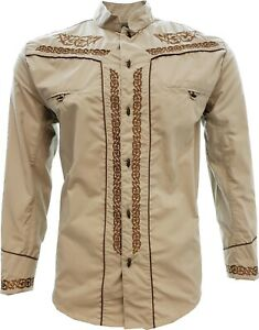 Charro Shirt Long Sleeve El Señor de los Cielos Camisa Charra Color Khaki