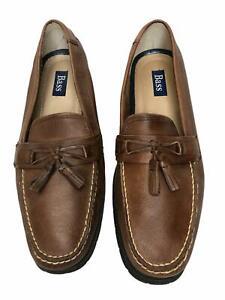 Bass Loafers Mens Adams II Tassle Loafers Slip On Brown Tan Leather 11.5