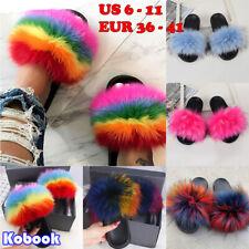 Women Summer Flat Faux Fur Fluffy Sliders Slippers Comfy Sandals Flip Flop Shoes