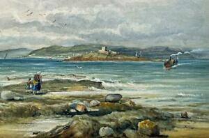 ROBERT S. REID OF LEITH Watercolour Painting FIGURES ON COAST SCOTLAND? 1880