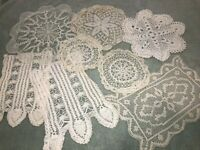 "Lot of 8 Vintage Handmade Crocheted Doilies White Ecru 8-14"" Rd Granny Cottage"