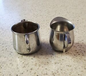 STAINLESS STEEL & CHROME PLATE CREAMERS-INDIVIDUAL SIZE ,VINTAGE RESTAURANT WARE
