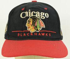 Chicago Blackhawks Embroidered Black Baseball Cap Hat Vintage