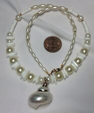 Seashell Pendant Faux Pearl Puka Beaded Necklace Gold Tone