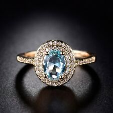 Lady Oval Blue Aquamarine Gemstone Halo Ring Jewelry Size7-10 March Birthstone