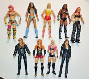 Lot Of 9 WWE Girl Divas Women Action Figures Mattel Blaze, Rhonda roussey + more