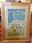 Indian Mughal Persian Islamic Large Painting Of Royal Court Scene Framed
