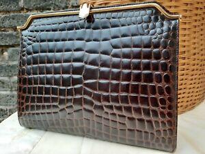 Vtg 60s Adrian Gold Lge Brown Moc Crocodile Genuine Leather Clutch Bag. Stunning