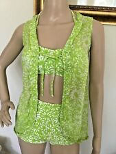 "60's Vintage ""Lanz Original"" Green/White Hi-Waist Bikini with Cover-up Swimsuit"