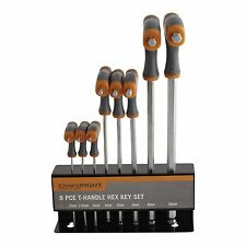 Craftright T-HANDLE HEX KEY SET 8 Pieces, Metric Sizing, Convenient Storage Case