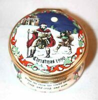 Halcyon Days Enamels England 1990 Round Box Good King Wenceslas Christmas Carol