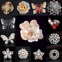 Wholesale Women Crystal Pearl Flower Floriated Brooch Pin Wedding Bridal Bouquet