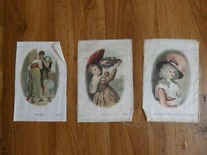 3 large B.D.V. Famous Paintings silk cigarette cards