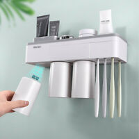 Toothpaste Toothbrush Holder Magnetic Cup Storage Rack Bathroom Wall Mount Shelf