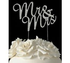 Silver Mr & Mrs Wedding Cake Topper Decoration Pick Anniversary Engagement NEW
