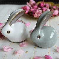 2 x Adorable Porcelain Rabbits Easter Bunnies Figurine Miniature Home Decoration