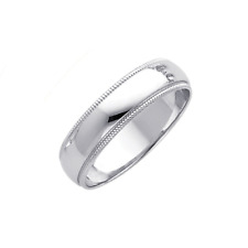 14K Solid White Gold Regular Fit Milgrain Wedding Band Ring 5mm Size 4-12 Men Wm