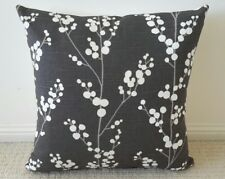 Charcoal with Cream Blooms Designer Cushion Cover - 45cm x 45cm