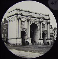 Glass Magic Lantern Slide MARBLE ARCH HYDE PARK C1890 PHOTO LONDON POLICEMAN