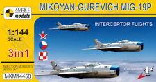 Mark I Models 1/144 Mikoyan MiG-19P agricultor B Interceptor vuelos (3in1) # 14458
