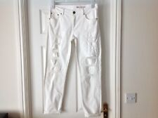 ASOS WHITE DISTRESSED JEANS -  WAIST 28INS   LEG 32 INS  WORN ONCE  EXCELLENT