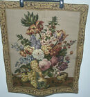 """French wall tapestry hanging Floral Vase Victorian 29"""" x 25"""""""