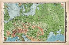 1952 MAP ~ CENTRAL EUROPE ~ PHYSICAL GERMNAY CZECHO-SLOVAKIA ROMANIA SWITZERLAND