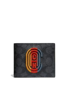 Coach Men's Slim Billfold Signature Canvas Retro Patch Charcoal Wallet #922 $128