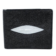 Black Genuine Stingray Leather Two Eyes Bifold Wallet Card Holder Fairy-Leather