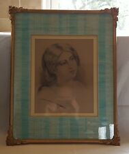 Wood frame vintage Victorian Louisa Hill pencil portrait picture of a girl