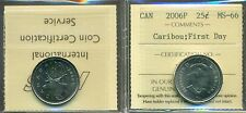 2006P Canada 25-cent Caribou; First Day ICCS MS-66
