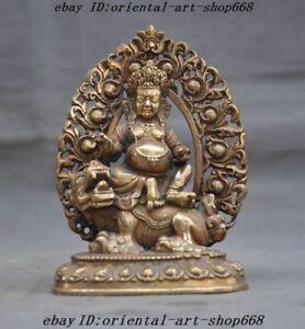"""5"""" Tibetan Buddhism Brass Ride Beast White Jambhala Wealth God Buddha Statue"""
