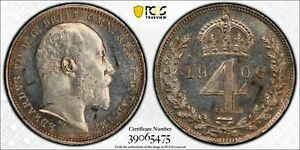 1906 Great Britain 4 Pence Fourpence Maundy PCGS PL64 Lot#G970 Silver!
