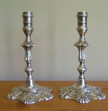 RARE PAIR ENGLISH STERLING SILVER TAPERSTICKS CANDLESTICKS HALLMARKED BIRMINGHAM