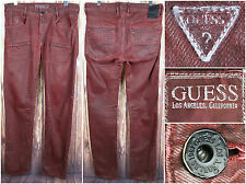 Guess Jeans Dark Red Classic Men's Pants Size 32 Alameda Slim Tapered 34 inseam