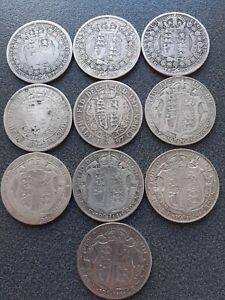 Pre 1920, 10 x  Sterling Silver Halfcrowns. Victoria ,Edward VII, George V 138gm