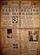 1939 Newspaper Declaration of World War II Daily Express Vintage Old London I UK